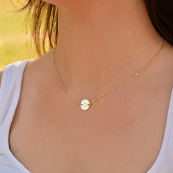 Initial Necklace Gold Disc Necklace, Personalized Jewelry,Tiny Gold Necklace, Dainty Necklace, Simple Everyday Necklace, Bridesmaid Gifts