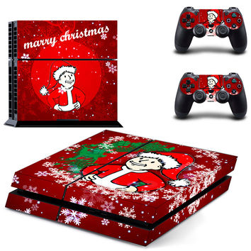 Fallout vault boy speial christmas edition design skin for ps4 decal sticker console & controllers