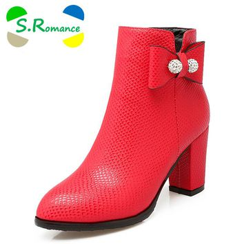 S.Romance Women Ankle Boots Plus Size 34-43 Med Square Heel Zip Round Toe Classic Fashion Woman Shoes Black White Red SB242