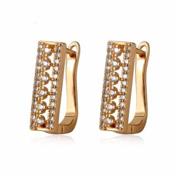 Rectangular Cz Huggies  Earrings 18Kts of Gold Plated