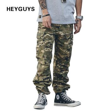 HEYGUYS 2017 fashion loose Long Pant Men cargo  pants Baggy Jogger Trousers Fashion Fitted Bottoms streetwear hiphop Pocket pant