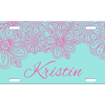 Custom Personalized License Plate Car Tag Pink & Tiff Blue Flower Floral Custom Name Birthday Girls Gift Aluminum Front Car Plate LP-1008