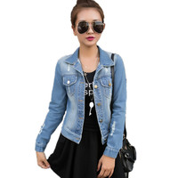 S-XXL Autumn Long Sleeve Women Denim Jacket Frayed Jeans Jacket Women Oversized Jean Coat plus size women Outwear new fashion
