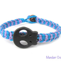 Skull Hemp Bracelet, Lavender and Turquoise Fishbone Hemp Jewelry, Halloween Accessory