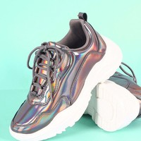 Qupid Holographic Patent Lace-Up Platform Sneaker