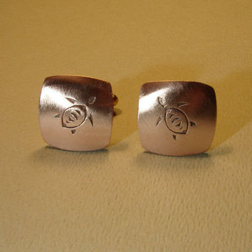 Copper sea turtle cuff links handmade