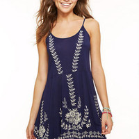 Embroidered Hanky Hem Tunic Dress