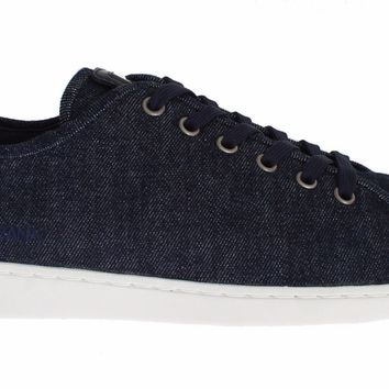 Dolce & Gabbana Mens Blue Denim Leather Casual Sneakers Shoes