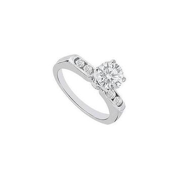 Semi Mount Engagement Ring in 14K White Gold with 0.16 CT Diamonds Center Diamond Not Included
