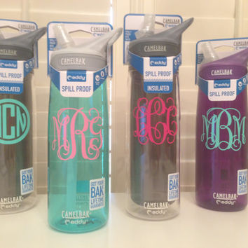 2.75 inch Monogrammed Personalized Vinyl Decal perfect for camelbak water bottle