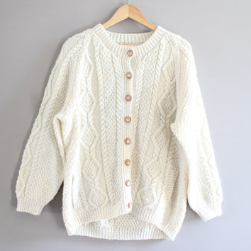 Irish handmade pure wool ivory cream fishermen's slouchy chunky cable knit cardigan small to large