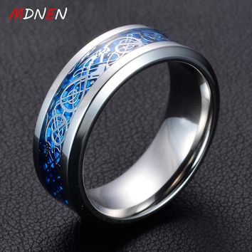 MDNEN  6 Style Stainless Steel Dragon Ring Jewelry How to Train Your Dragon for Men Luminous Rings Carbon Fiber Nibelungen Ring