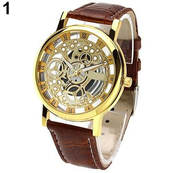 Men's Women's Roman Numerals Faux Leather Band Skeleton Analog Sports Dress Wrist Watch New Design