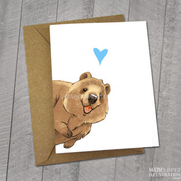 Happy Quokka, I love You Card, Note Cards, 5x7 Kraft Envelope, Recycled, Blank Kraft Greeting Card, Great for any use, Animal Illustration