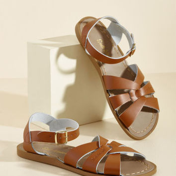 Salt Water Leather Sandal in Black