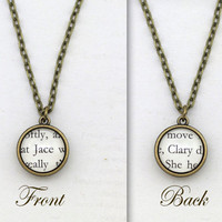 Mortal Instruments, 'Jace' and 'Clary', Double Sided Pendant Necklace, Book Page Necklace