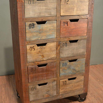Industrial Rustic Solid Reclaimed wood Console / Dresser / Sideboard / Media Stand with multiple utility drawers on wheels