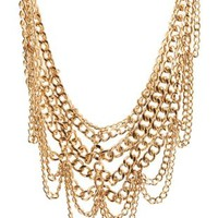 Gold Layered Chain Statement Necklace by Charlotte Russe