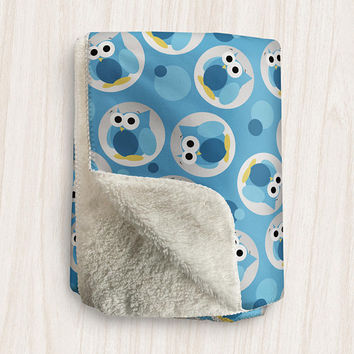 Blue Owl Sherpa Fleece Blanket - Funny Cute Blue Owl Pattern - 2 sizes available - Made to Order
