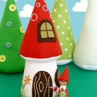 Nora Gnome and Mushroom Cottage PDF Pattern by luckynielsen