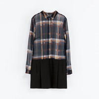 CHECKED COMBINATION DRESS - Dresses - WOMAN | ZARA United States