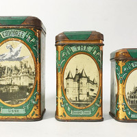 ON SALE 3 French Vintage Kitchen Canisters with Lid - Castles of France - Early Twentieth Century - Collectibles Tin Boxes
