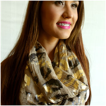 Gold Foiled Lips Infinity Scarf Camel