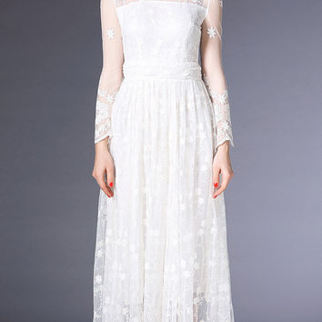 White Sheer Lace Embroidery Detail Maxi Dress