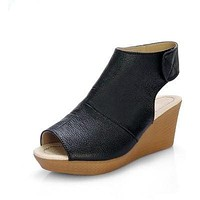 Summer Open Toe Shoes Woman Genuine Leather Wedge Platform Sandals Fashion Casual Wedges Women Sandals