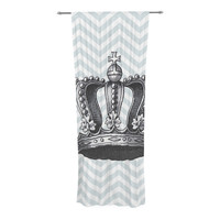 "Suzanne Carter ""Crown"" Blue Black Decorative Sheer Curtain"