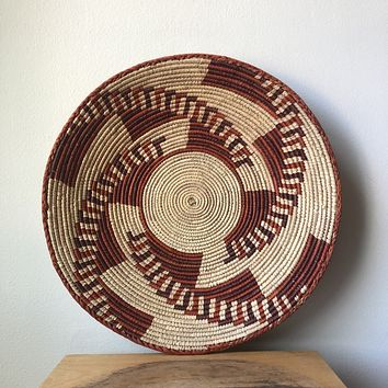 "Natural & Rust African Basket 13"" - 15"""