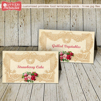 Vintage roses food tents, Romantic flowers place cards, Printable food tent, Wedding food tent, Elegant food card, Rustic floral menu