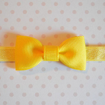 Yellow Baby Bow Headband. Tiny Yellow Bow Headband. Baby Hair Accessories. Baby Girls Hair Accessories. Baby Bow Headband. Yellow Baby Bow