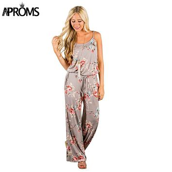 Aproms Khaki Boho Sweet Floral Print Jumpsuit Romer Women Sexy Strap Bow Tie Waist Beach Playsuit Overall for Women Clothing