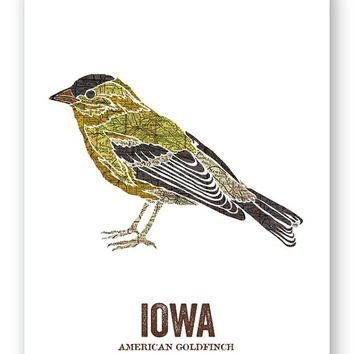 AMERICAN GOLDFINCH // Iowa State Bird, Nature Print, Vintage Map, Outdoor, State Poster, Folk, Rustic, Outdoor, Country, Reproduction Print