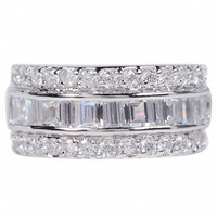Thea's Triple Row Round & Princess Cut CZ Wedding Band