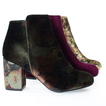 Thirsty06M By Bamboo, Velvet Oriental Floral Printed Block Heel Ankle Booties, Women's Shoes