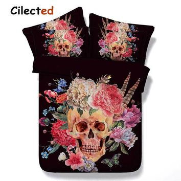Cilected 3D Skull Bedding Sets Flower 3pcs Bedclothes Black Sugar Skull Duvet Cover Sets Twin /Full /Queen/King Size