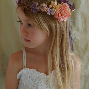 Folklore Flower Crown... whimsical wedding bride flower girl bridesmaid boho woodland fairy free people country tea party circlet
