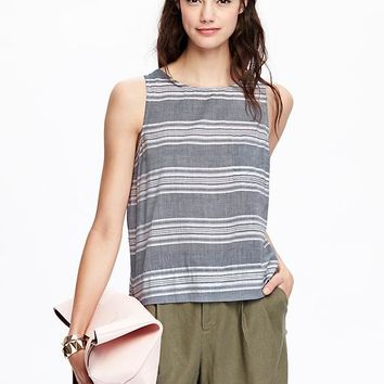 Old Navy Womens Striped Boxy Tanks