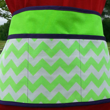 Waitress or Vendor Style Half Apron Neon Green Left Handed Pencil or Pen Pocket