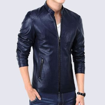 Men's British Style Slim Fit Faux Leather Casual Zip Up Jacket