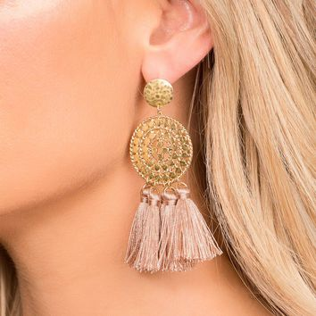 Naomi Mauve Tassel Earrings