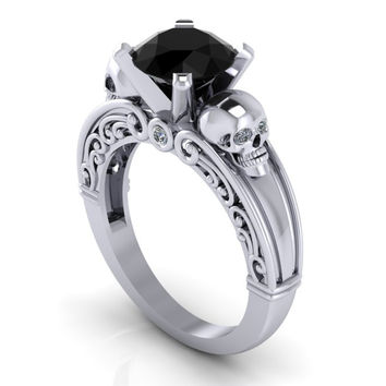 Gothic Black Diamond Skull Engagement Ring