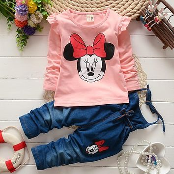 BibiCola baby girls clothes spring cotton children clothing set Minnie mouse cartoon blue Full sleeve shirt & Denim Overalls 24M