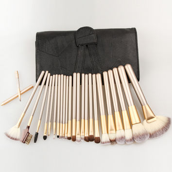 Professional maquiagem tool 12/18/24pcs Makeup Brushes Set Cosmetic Make Up Tools Set with Leather Case, Free Shipping