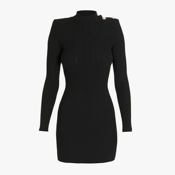 Buttoned Knit Mini Dress for Women - Balmain.com