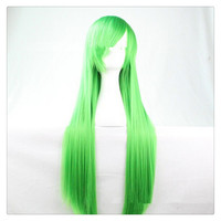 "Women Fashion 100CM/39"" Long straight Cosplay Fashion Wig heat resistant resistant Hair Full Wigs  green"