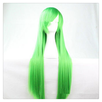 """Women Fashion 100CM/39"""" Long straight Cosplay Fashion Wig heat resistant resistant Hair Full Wigs  green"""