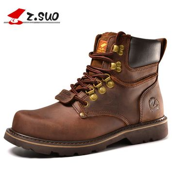 Z. Suo Brand ZS16508 Autumn European Classic Style Men's Martin Boots Fashion Popular Crazy Horse Leather Male Tooling Boots